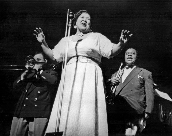 Velma Middleton with Russ Phillips, Sr. and Louis Armstrong at The Paramount, New York